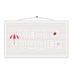 Hello summer sign isolated on white vector