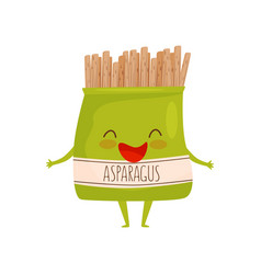 humanized soy asparagus packaging healthy food vector image
