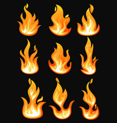 icons with flame or burning fire fireball vector image