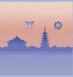 Japanese temple and symbol vector