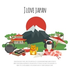 Japanese tradition symbols poster vector