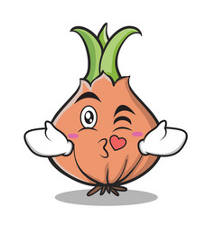 kissing heart onion character cartoon vector image