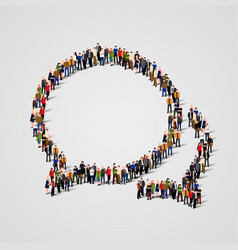 large group of people in the chat bubbles shape vector image