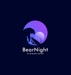 Logo bear night negative space style vector