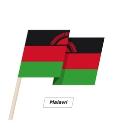 Malawi Ribbon Waving Flag Isolated on White vector