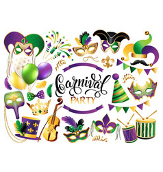 Mardi gras french traditional symbols collection vector