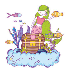 Mermaid with treasure chest undersea scene vector
