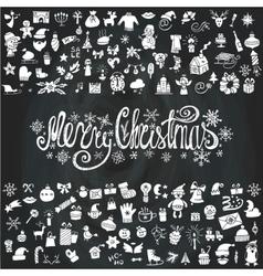 Merry Christmas cardIcons silhouetteChalkboard vector image