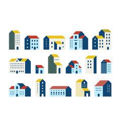 minimal flat houses simple geometric buildings vector image