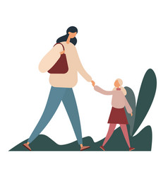 Mother and daughter walking in park flat vector