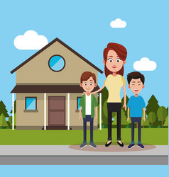 Mother with son and friend house vector