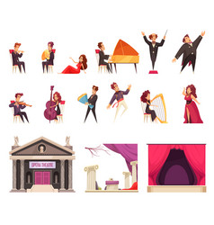 opera theater cartoon set vector image