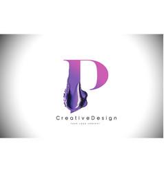 p letter design brush paint stroke purple p vector image