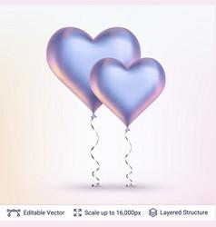 pair of 3d heart shaped air balloons vector image