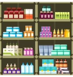 Pharmacy shelves with pills and drugs medicine vector