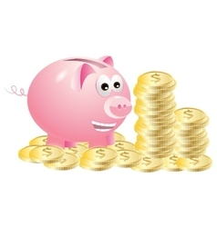 Piggy bank which enjoys gold coins vector