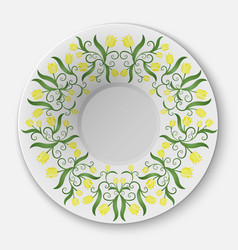 Plate with floral pattern vector