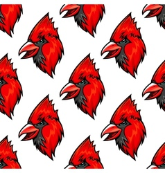 Red cardinal bird seamless pattern vector image
