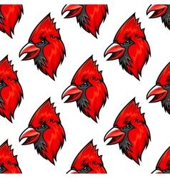 Red cardinal bird seamless pattern vector