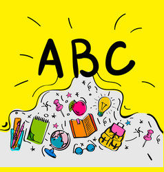 School begginnings abc letters doodle style vector