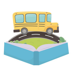 School bus and book design vector