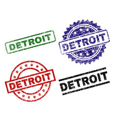 Scratched textured detroit seal stamps vector
