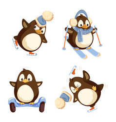 set of pinguins winter activities isolated vector image