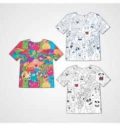 Set of three t-shirts with abstract funny monsters vector