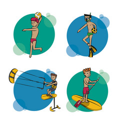 Set of water sports cartoons vector