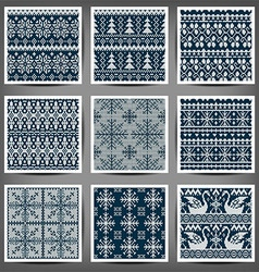 set seamless knitted patterns vector image