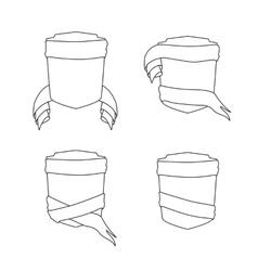set shield with ribbon vector image