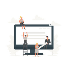Small office people building website with blocks vector