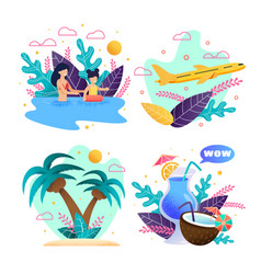 summer vacation on tropical island cartoon set vector image