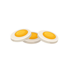 Three slices of hard boiled egg organic and vector