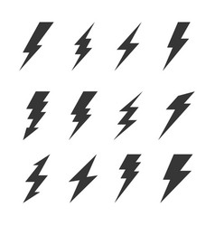 Thunder and bolt lighting flash icons set vector