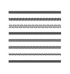 Traditional simple meander black and white border vector