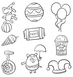 various circus object of doodle collection vector image