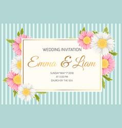 Wedding invitation daisy aster chamomile flowers vector