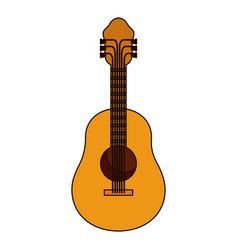 White background with acoustic guitar with thick vector