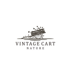 Wood cart plant nature logo farm vector