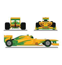 yellow formula racing car ready for racing vector image