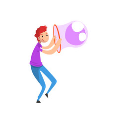 Young smiling man blowing big soap bubble with vector