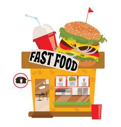 cartoon fast food restaurant small shop business vector image