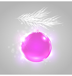 Christmas background with shining pink ball vector image vector image