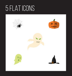 flat icon celebrate set of witch cap phantom vector image vector image
