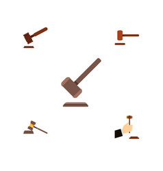 flat icon hammer set of tribunal court justice vector image