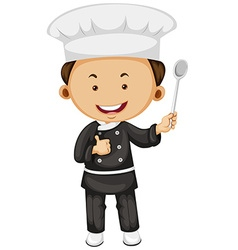 Male chef holding spoon vector image vector image
