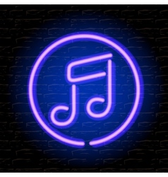 Neon music note on the brick wall vector image