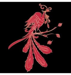 Red silhouette fire-bird vector image