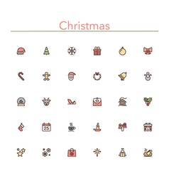 Christmas Colored Line Icons vector image vector image
